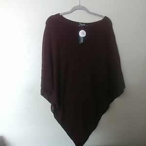 NY Collection Chocolate Brown Poncho One Size